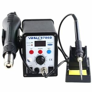 2in1 8786d Soldering Iron Rework Station Hot Air Gun Tip 3 Nozzles Heat Usa