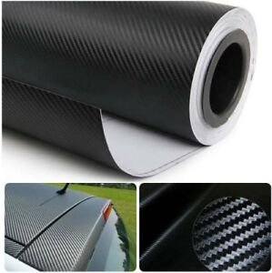 3d Carbon Fiber Vynil 12 X 60 Roll Car Wrap Bubble Free Twill Weave Black Film