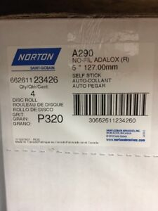 Norton 23426 5 No Hole Psa 320 Grit Sandpaper 250 Discs Per Roll