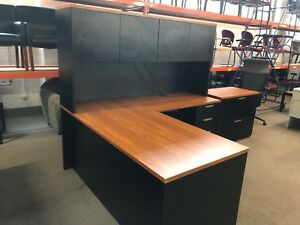 Executive L shape Desk W Hutch By Workstream In Black Cherry Color Combo