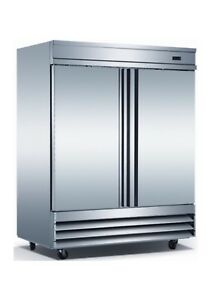 Triplex Two Door Stainless Steel Commercial Freezer Upright Bottom Mounted