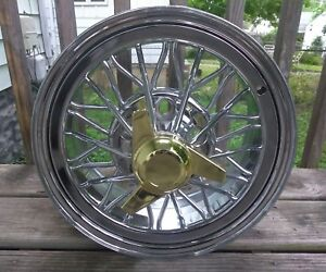 4 New Gold 3 Prong Spinners Cragar Star Wire Wheels Tru True Spoke Crager Weld