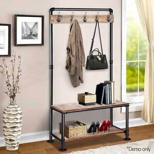 Diwhy Industrial Pipe Clothing Rack Pine Wood Shelving Shoes Rack Cloth Hanger