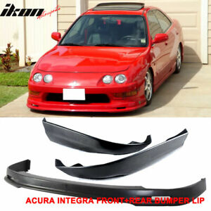Black Pp Mugen Front Rear Bumper Lip Fits 98 01 Acura Integra