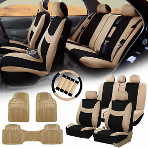 Beige Black Car Seat Covers For Auto W steering Cover belt Pads floor Mat