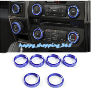 Blue Audio Switch Knob Ring Cover Trim Air Conditioner For Ford F150 2016 2018