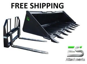Es 78 Tooth Bucket 48 Walk Thru Pallet Forks Combo Skid Steer Free Shipping