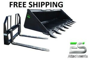 Es 84 Tooth Bucket 48 Walk Thru Pallet Forks Combo Skid Steer Free Shipping