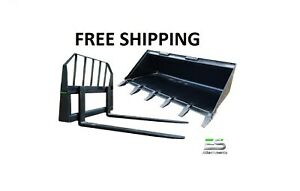 Es 60 Tooth Bucket And 48 Pallet Forks Combo Skid Steer Loader Free Shipping