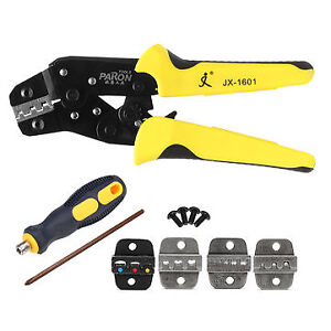 Professional Ratchet Crimping Tool Wire Strippers Terminals Pliers Kit Paron