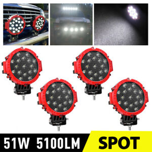 4x 7 Inch Led Pods Work Light Bar Red Round Driving Fog Headlight Truck Off Road