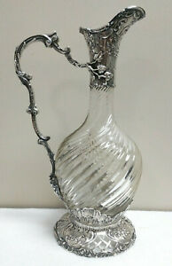 Antique French Victorian Coin Silver Glass Devil Head Wine Claret Decanter Jug