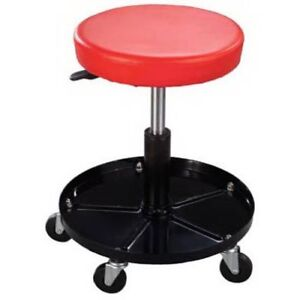 Heavy Duty Roller Seat Wheeled Workshop Chair Stool With Tools Storage Tray