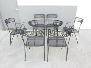 Maurizio Tempestini For Salterini Ribbon Wrought Iron Dining Set With 6 Chairs