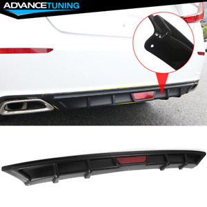 Fits 18 Honda Accord Oe Style Black Pp Rear Bumper Diffuser W 3rd Brake Light