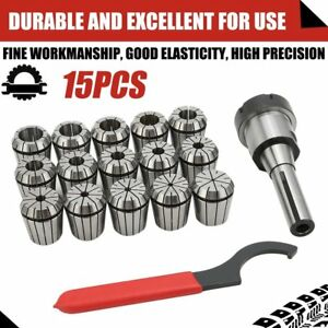 Er40 Collet Chuck R8 Shank With 15 Pc Collets Set For Cnc Milling Lathe Tool Hg