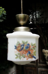 Authentic Art Deco Pendant Chandelier Opaline Glass Painted Robins Tits Brass Fi
