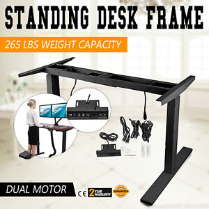 Electric Sit stand Standing Desk Frame Dual Motor Office Black 3 Stage