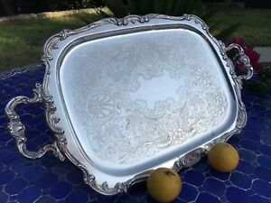 Large Antique Gorham Heritage 25 5 Silver Plated Tea Butler Serving Tray Yh318