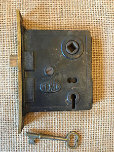 Antique Pexto Brass Face Mortise Lock With Key