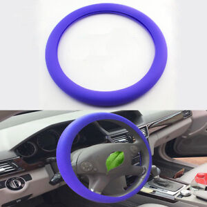 Purple Car Auto Silicone Steering Wheel Cover Protector Shell Leather Texture