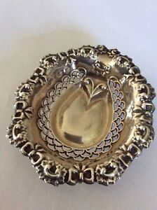 Antique Sterling Silver Ornate Bows Small Dish Signed H W Ld Anchor Lion G