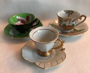 3 Tea Cups Saucers Hand Painted Royal Sealy China Occupied Japan E 825