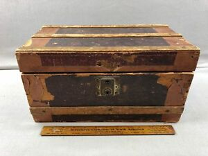 Antique Small Diminutive Leather Flat Top Steamer Trunk Storage Chest 14 X8x7 5