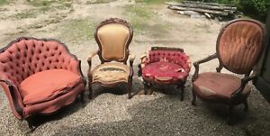 Lot Of Antique Victorian Furniture Chairs Sofa And More