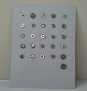 Lot 25 Detailed Victorian Antique Buttons On Matboard Vintage Glass Shell Metal