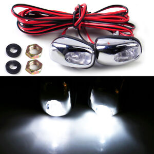2pcs Universal White Led Light Windshield Washer Wiper Jet Water Spray Nozzle