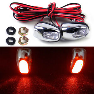 2pcs Universal Red Led Light Windshield Washer Wiper Jet Water Spray Nozzle