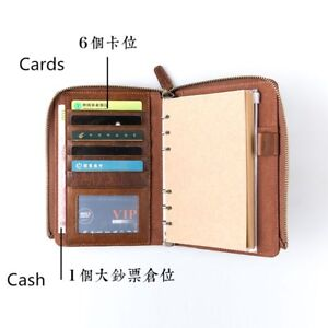 A6 Leather Busines Zipper Business Conference Folder Notebook Diary Journal