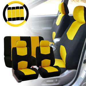 Car Seat Covers For Auto Yellow W Steering Wheel belt Pads headrests