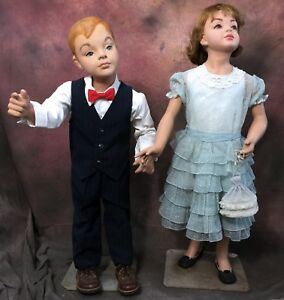 Vintage 50 s Sweet Smirking Child Mannequin Boy Girl Set Display Darling