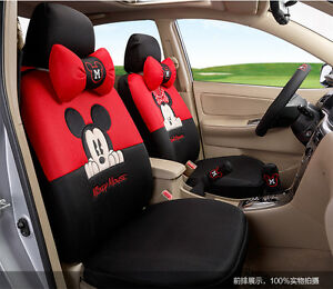 18 Piece Red And Black Mickey And Minnie Mouse Car Seat Covers