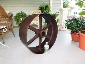 Huge Cast Iron Flat Belt Pulley 24 Dia X 10 Wide Steam Engine Industrial Age