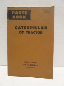 Vintage Original 1969 Caterpillar D7 Tractor Parts Book S n 3t1 To 3t19999