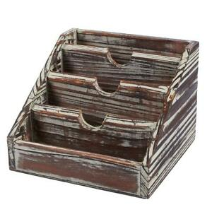 Wooden Mail Organizer 4 Compartments Small Rustic Wood Desk Storage Organizer