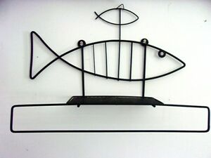 Vtg Mid Century Modern Black Fish Wire Mesh Wall Shelf Bar Holder Sculpture