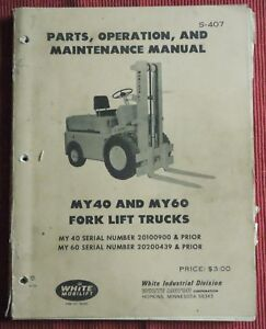 White Mobilift My40 My60 Forklift Maintenance Manual Parts List