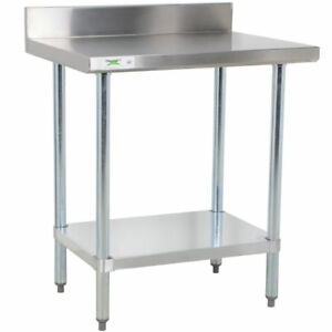 24 X 30 Stainless Steel Work Prep Shelf Table With Backsplash Commercial Nsf