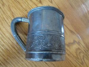 Pairpoint Mfg Quadruple Plate Floral Ribbon Pattern Silverplate Cup Vintage Rare