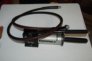 Enerpac P 142alss Hydraulic Hand Pump Stainless Steel Reservoir W Hose Nice