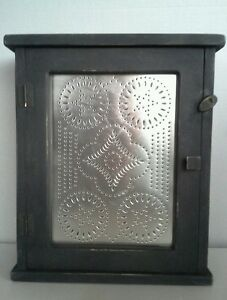 Country Wood Black Distressed Medicine Spice Cabinet Primitive Star Punched Tin