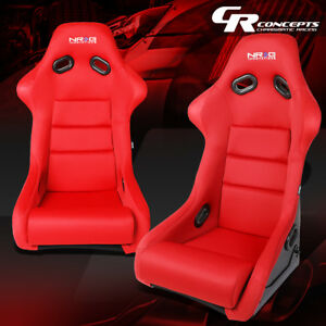 Nrg Pair Red Sport Spec Fiberglass Cloth Bucket Racing Seats Cushions