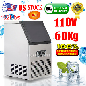 60kg day Commercial Ice Cube Maker Machine Auto Counter Bar Stainless Steel 110v
