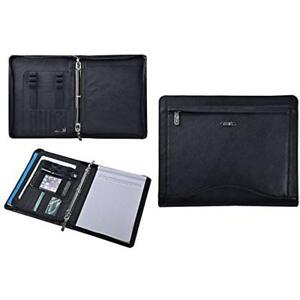 Leather Binder Portfolio Organizer Padfolio With 3 ring For Letter Paper And