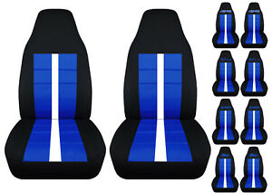 Fits Chevy S10 Bucket Front Car Seat Covers Black dark Blue W xtreme 4x4 zr2 ss