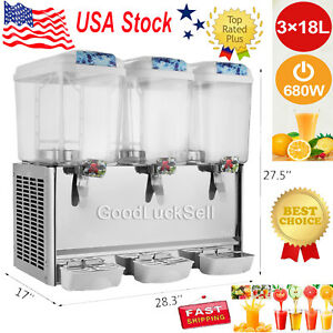 54l Commercial Juice Beverage Cold Refrigerated Drink Dispenser Machine Steel Us